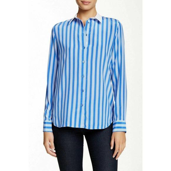NWT Equipment Blue Stripe Silk Button Down Shirt